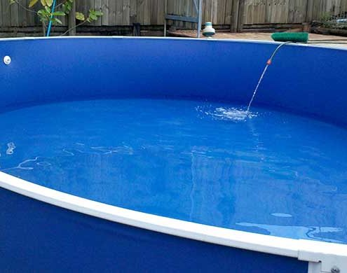 Completed above ground pool vinyl liner installation