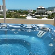 Crystal clear spa pool water overlooking Cairns