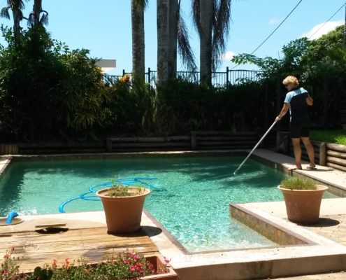 Gretel performs pool service at the Pegasus Yorkeys Knob swimming pool