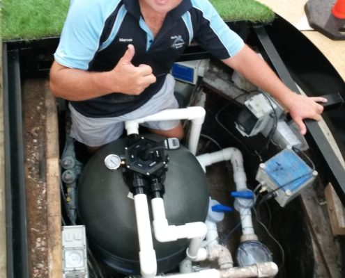 Repairing a filter at Cairns Central shopping centre