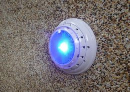 LED pool light shining brightly